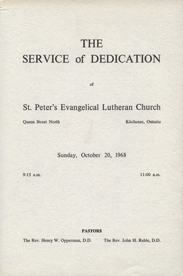 Service of dedication of St. Peter's Evangelical Lutheran Church, October 1968
