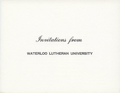 Waterloo Lutheran University 1963 fall convocation ceremony and dedication of the Seminary Building invitation