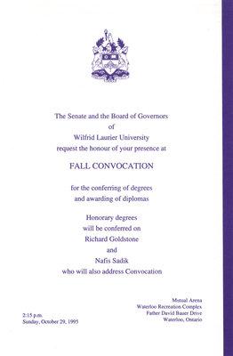 Wilfrid Laurier University fall convocation invitation, 1995