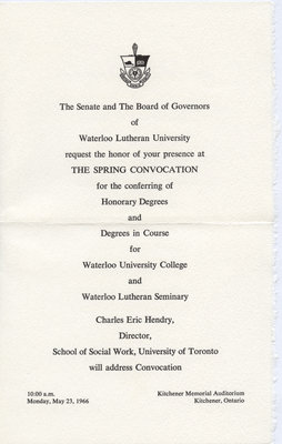 Waterloo Lutheran University 1966 spring convocation ceremony and baccalaureate service invitation