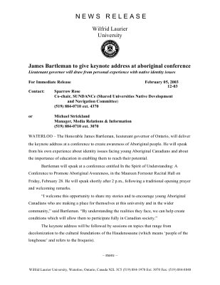 12-2003 : James Bartleman to give keynote address at aboriginal conference