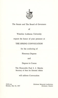 Waterloo Lutheran University spring convocation and baccalaureate service invitation, 1967