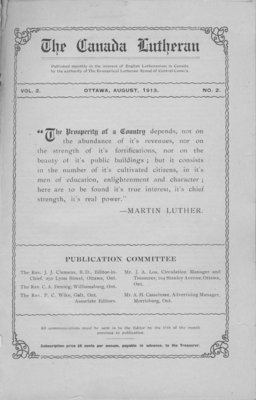 The Canada Lutheran, vol. 2, no. 2, August 1913