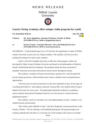 60-2008 : Laurier String Academy offers unique violin program