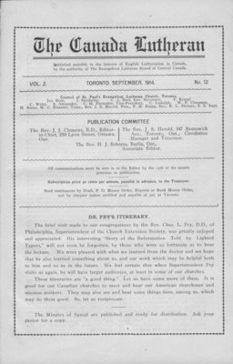 The Canada Lutheran, vol. 2, no. 12, September 1914
