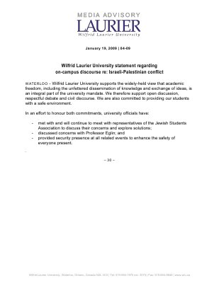 04-2009 : Wilfrid Laurier University statement regarding on-campus discourse re: Israeli-Palestinian conflict