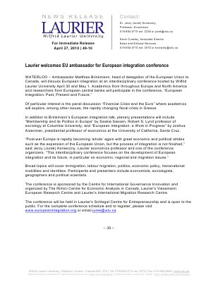 49-2010 : Laurier welcomes EU ambassador for European integration conference