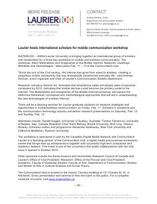 21-2011 : Laurier hosts international scholars for mobile communication workshop