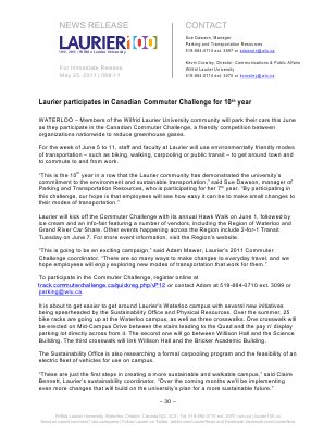 88-2011 : Laurier participates in Canadian Commuter Challenge for 10th year