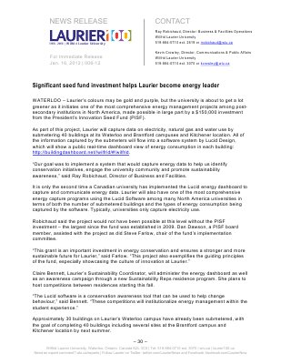 06-2012 : Significant seed fund investment helps Laurier become energy leader