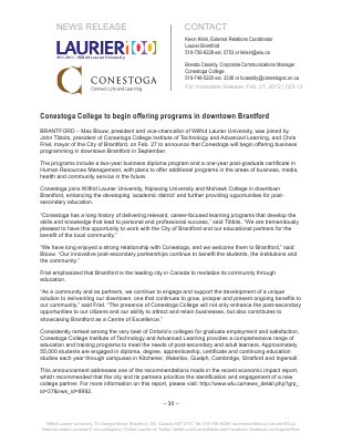 25-2012 : Conestoga College to begin offering programs in downtown Brantford