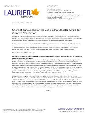 114-2012 : Shortlist announced for the 2012 Edna Staebler Award for Creative Non-Fiction