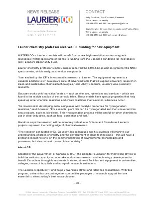 117-2011 : Laurier chemistry professor receives CFI funding for new equipment