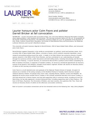 134-2012 : Laurier honours actor Colm Feore and pollster Darrell Bricker at fall convocation