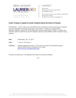 144-2011 : Justin Trudeau to speak to Laurier students about the future of Canada