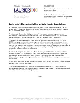 156-2011 : Laurier part of '401 dream team' in Globe and Mail's Canadian University Report