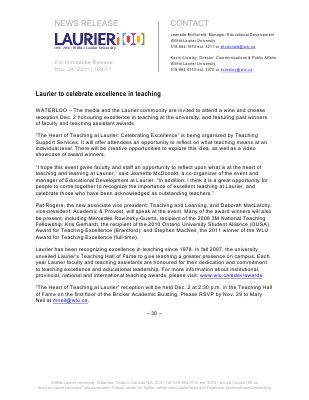 169-2011 : Laurier to celebrate excellence in teaching