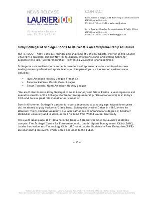 171-2011 : Kirby Schlegel of Schlegel Sports to deliver talk on entrepreneurship at Laurier