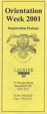 Laurier Brantford Orientation Week pamphlet, 2001