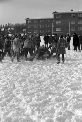 Powder puff football game during Winter Carnival 1971
