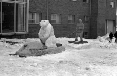 Snow sculptures at Waterloo Lutheran University Winter Carnival 1968