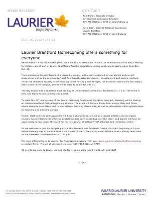141-2012 : Laurier Brantford Homecoming offers something for everyone