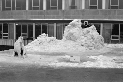 Snow sculptures at Waterloo Lutheran University Winter Carnival, 1968