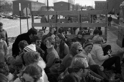 Waterloo Lutheran University Winter Carnival hayride, 1970