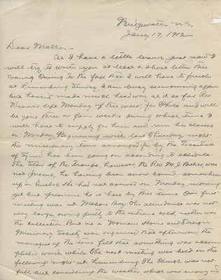 Letter from C. H. Little to Candace Little, January 17, 1912