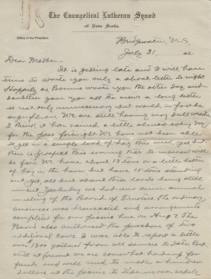Letter from C. H. Little to Candace Little, July 31, 1912