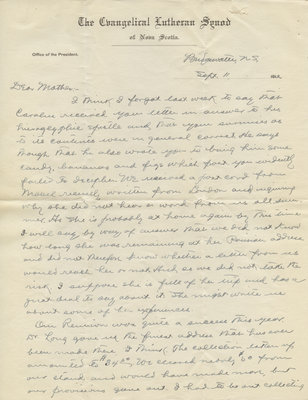 Letter from C. H. Little to Candace Little, September 11, 1912