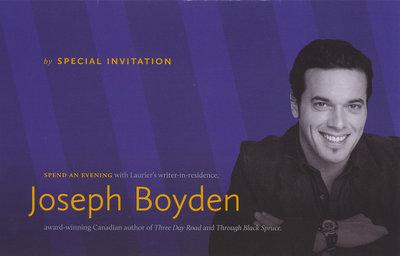 An evening with Joseph Boyden invitation