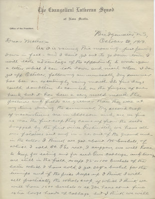 Letter from C. H. Little to Candace Little, October 30, 1913