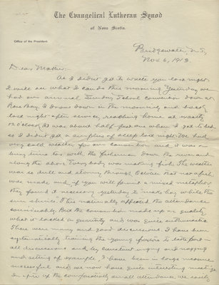 Letter from C. H. Little to Candace Little, November 6, 1913