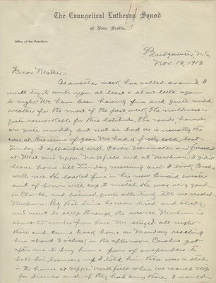 Letter from C. H. Little to Candace Little, November 19, 1913