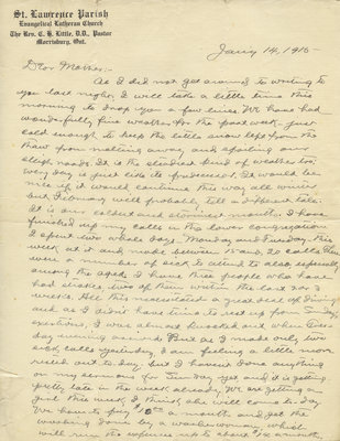 Letter from C. H. Little to Candace Little, January 14, 1915