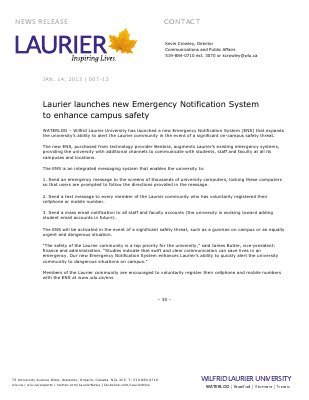 07-2013 : Laurier launches new Emergency Notification System to enhance campus safety