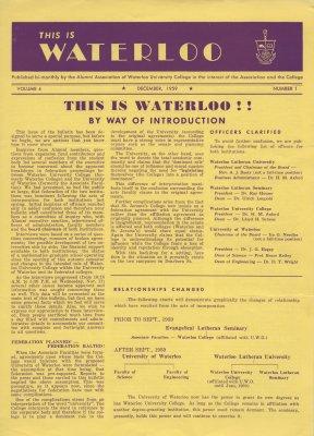 This is Waterloo, December 1959, volume 4, number 1