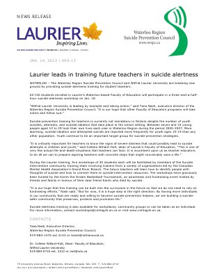 09-2013 : Laurier leads in training future teachers in suicide alertness