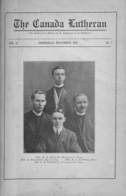 The Canada Lutheran, vol. 4, no. 1, November 1915