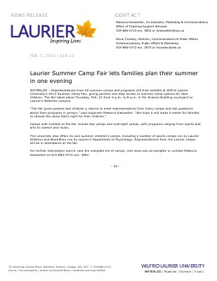 16-2013 : Laurier Summer Camp Fair lets families plan their summer in one evening