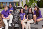 Laurier Ambassadors gathered around the Sir Wilfrid Laurier statue