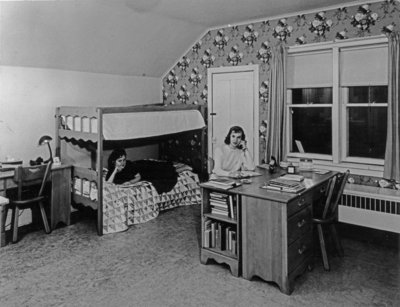 Waterloo College students in Conrad Hall residence room