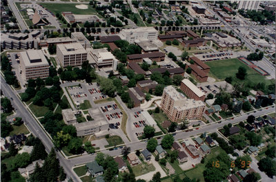 Aerial view of Wilfrid Laurier University, 1993