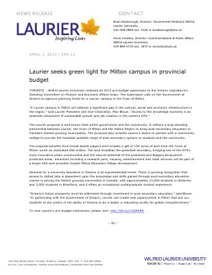 48-2013 : Laurier seeks green light for Milton campus in provincial budget