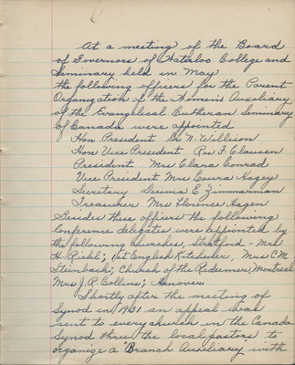 Women's Auxiliary of the Evangelical Lutheran Seminary of Canada meeting minutes, June 1, 1932