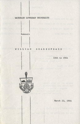 Waterloo Lutheran University honours William Shakespeare, 1564 to 1964
