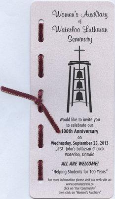 Women's Auxiliary of Waterloo Waterloo Lutheran Seminary 100th Anniversary invitation