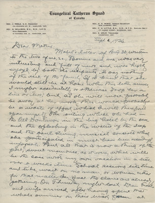 Letter from C. H. Little to Candace Little, September 6, 1936
