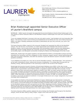 58-2013 : Brian Rosborough appointed Senior Executive Officer of Laurier's Brantford campus